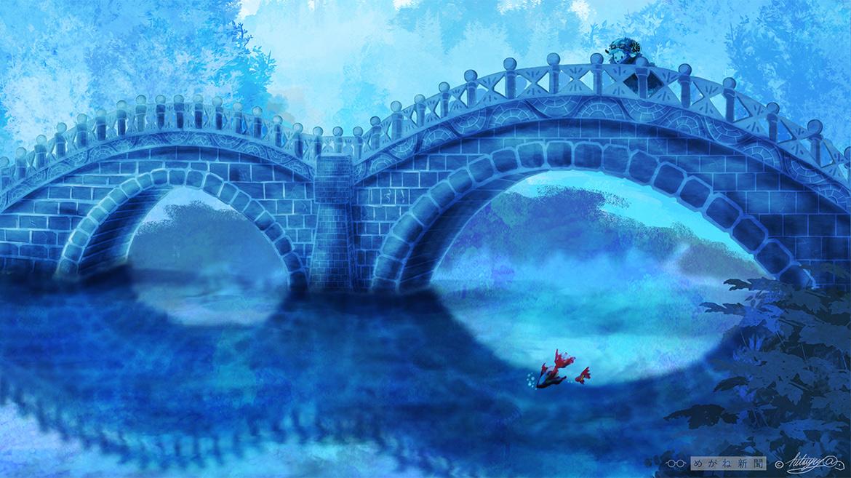 めがね橋で黄昏る羊のイラスト壁紙。